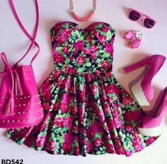 black w/ floral print pink green dress floral dress pink dress fashion colorful girly corset dress hight uuuuui dress flowers sunglasses necklace handbag strapless pink bag strapless dress rhinestones black with pink roses beautiful sweet black dress bustier dress jewels bag cute floral summer dress shoes hair accessory target