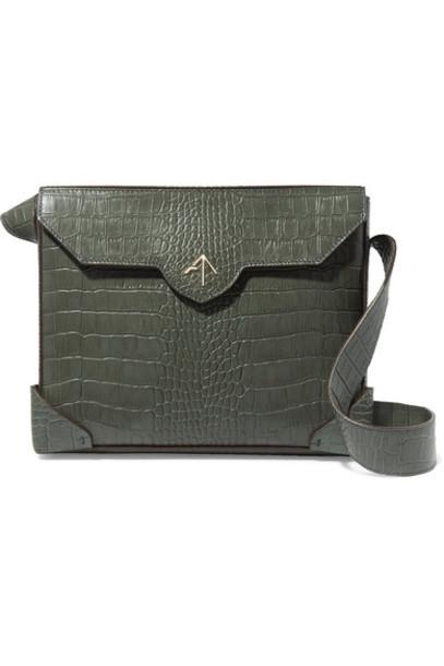 manu atelier bag shoulder bag leather green army green