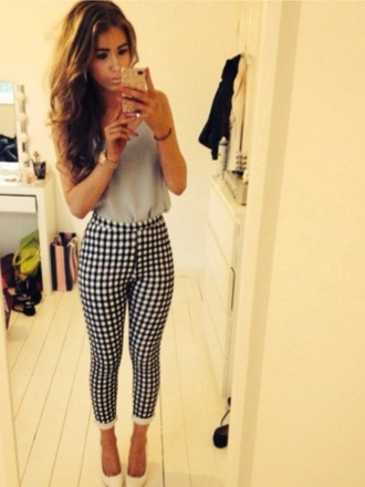 jeans gingham blue and white high waisted rolled up jeans checkered