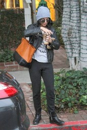 pants,sweatpants,hoodie,vanessa hudgens,jacket,bag,biker jacket,fall outfits,boots