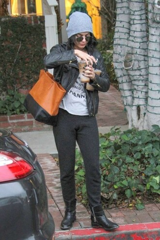 pants sweatpants hoodie vanessa hudgens jacket bag biker jacket fall outfits boots