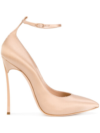 women pumps leather nude satin shoes