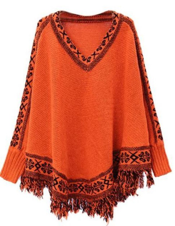 top orange and black batwing sleeves cape top poncho sweater fringe hem tassel hem v neck www.ustrendy.com