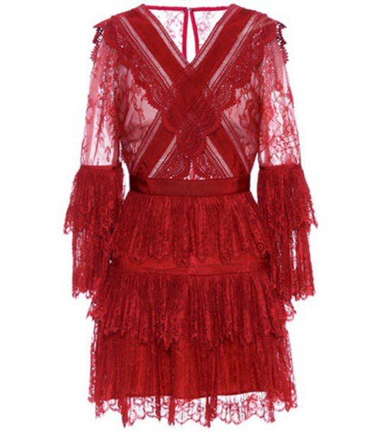 self-portrait lace red dress