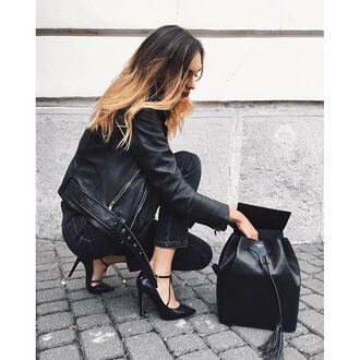 bag tumblr backpack black backpack leather backpack jeans black jeans black leather jacket leather jacket black jacket all black everything pumps pointed toe pumps high heel pumps