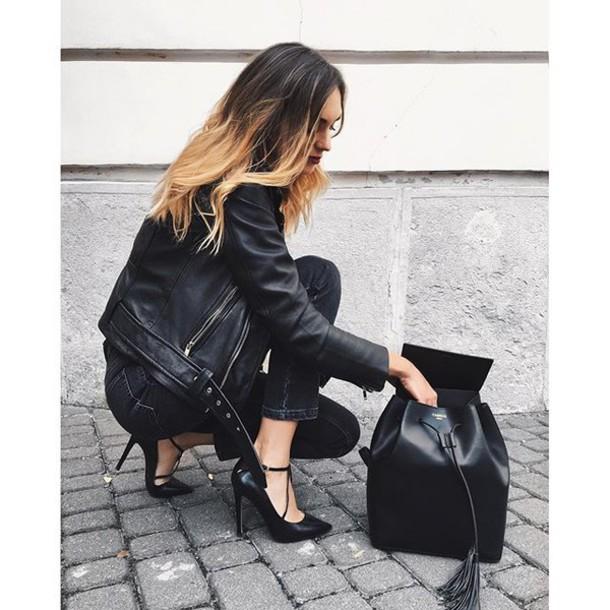 2b7d782c64 bag tumblr backpack black backpack leather backpack jeans black jeans black  leather jacket leather jacket black