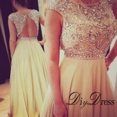Sexy open back beaded bodice champagne chiffon prom dresses long evening gowns apd1330 · diydressonline · online store powered by storenvy