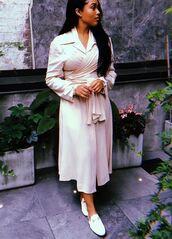 dress,wrap dress,jordyn woods,instagram,flats,white,white dress