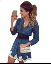 dress,twitter dress,blue dress,boho dress,belted dress