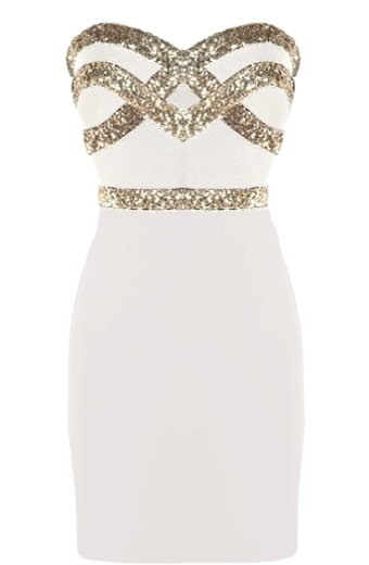 White gold sequin party dresses