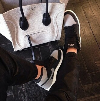 celine celine bag grey bag nike sneakers nike sneakers high top sneakers nike air black sneakers leather joggers designer bag bag shoes grey black teenagers tumblr tumbrl outfits nike shoes