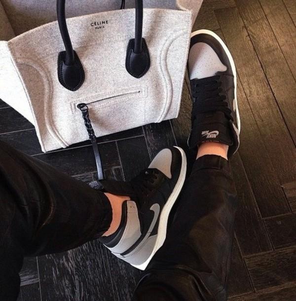 celine celine bag grey bag nike sneakers nike sneakers high top sneakers nike air black sneakers leather joggers designer bag bag shoes grey black teenagers tumblr tumbrl outfits nike shoes