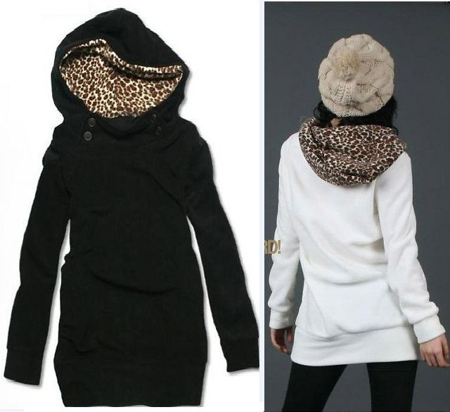 Womens Leopard Print Long Sweatshirt Hoodie Jacket Coat Sweater Winter Wear 3283