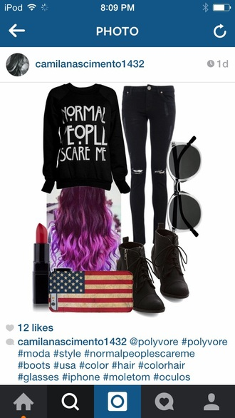 sweater black white black and white american horror story normal people care me hair accessory shoes phone cover jeans blouse