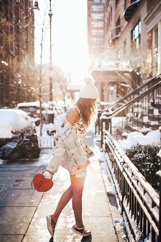 bag tumblr jacket denim jacket blue jacket dress mini dress floral floral dress sleeveless sleeveless dress sneakers gold sneakers low top sneakers metallic metallic shoes beanie pom pom beanie red bag heart