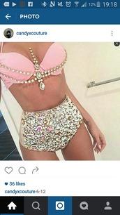 There sauvage rhinestone bikini
