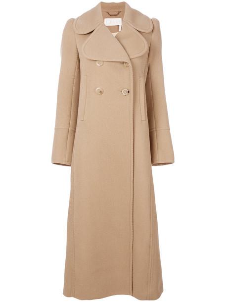 Chloe coat long coat double breasted long women nude wool