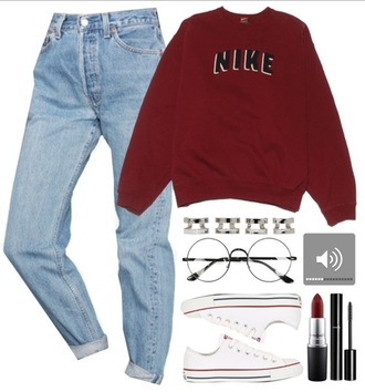 sweater set outfit jeans glasses vintage nike grunge shirt shoes pants accessories burgundy sweater