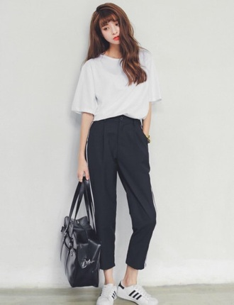 shirt trendy white black gir pants bag solid office outfits vintage grunge girly girl hip pinterest korean fashion business casual