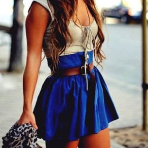 skirt brown belt tan top blue skirt beige tank top