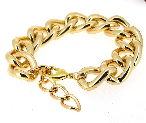 chunky o gold twist smooth curb chain bracelet by meetlyluck
