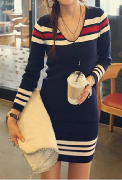Dress: blue, red, white, casual, fall outfits, trendy, long ...