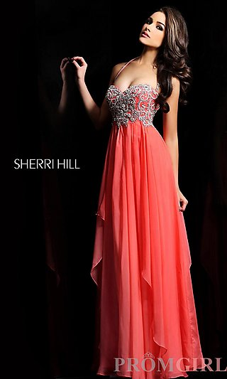 Promgirl Beaded Gown Prom DressSherri Long Halter Hill IH2ED9