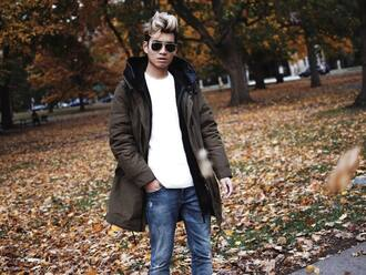 alexander liang blogger mens coat fall coat army green mens ripped jeans