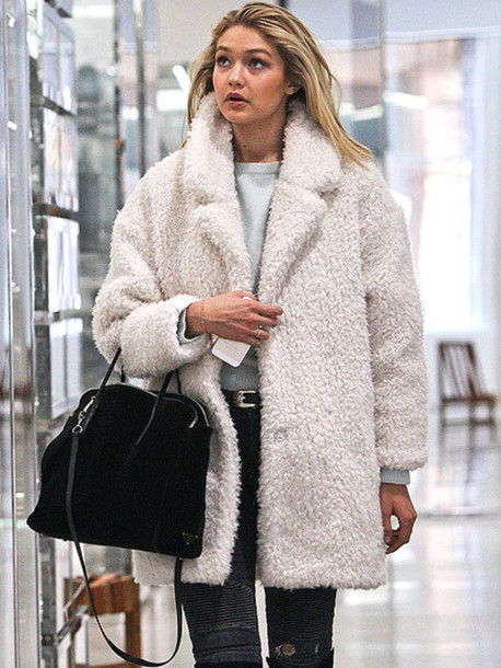 Jacket Coat Fur Winter Outfits White Fashion Style Gigi Hadid