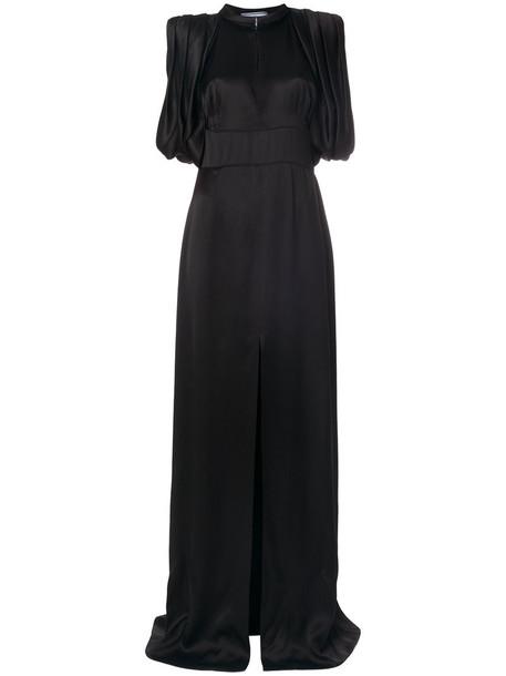 Prada gown sleeveless women slit black silk dress