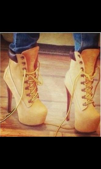 shoes high heels boots tan timberlands platform shoes tan timberland