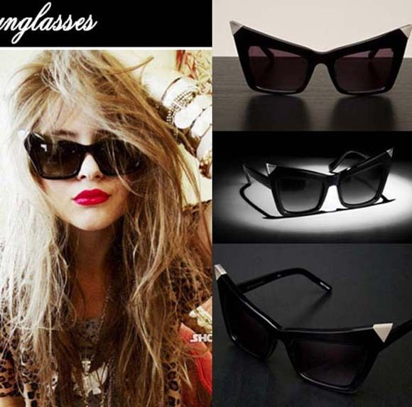 Hot Oversized Cat Eye Frame Sunglasses Retro Vintage Style Rock Punk IT Girl | eBay