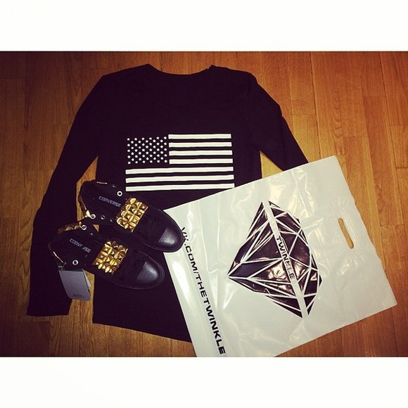shirt flag usa black shoes converse unbalance stud twinkle diamond gold