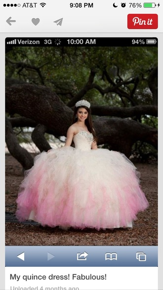 dress white dress pink dress poofy dress quinceanera dress diamons tight top
