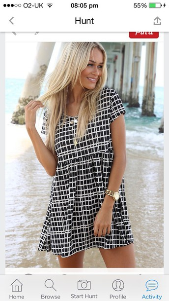 dress black and white checkered