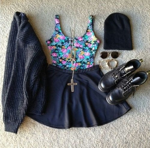 shirt skater skirt crop tops sweater beanie glasses shoes skirt jewels blouse