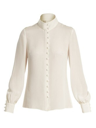 blouse fleur silk cream top