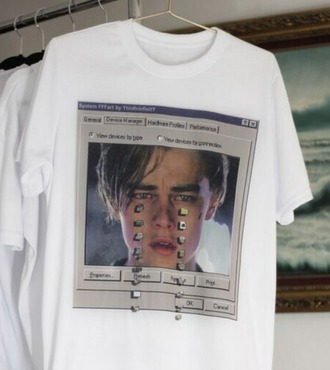 t-shirt leonardo dicaprio white box print printed t-shirt