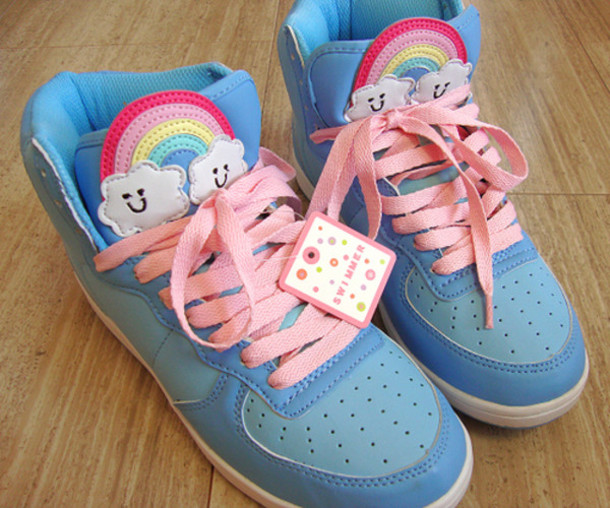 shoes blue shoes rainbow kawaii pastel cute clouds pink laces