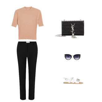 top ribbed top nude top nude black pants sandals white white shoes turtleneck office outfits
