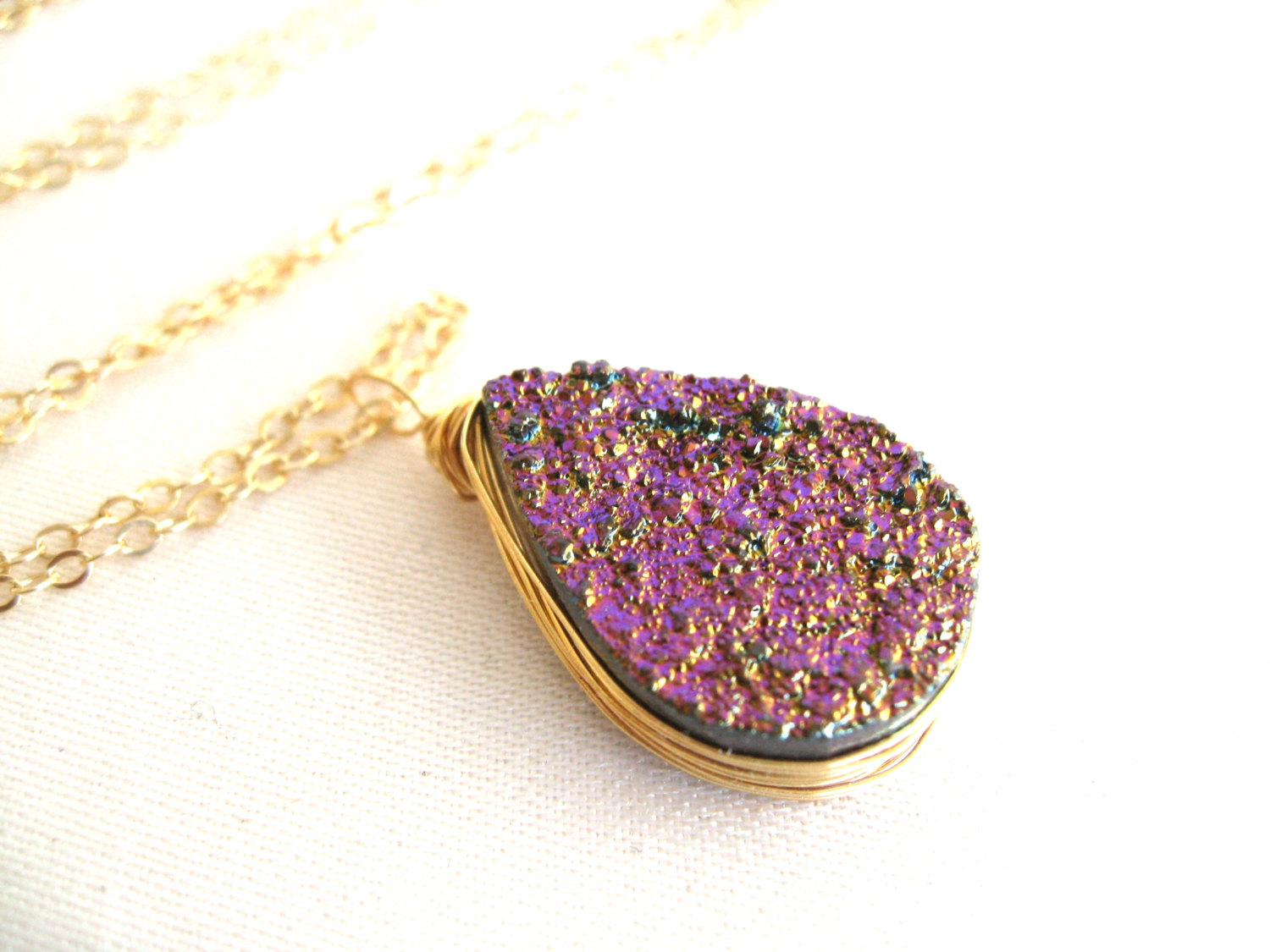 Radiant orchid druzy necklace lilac lavender gift for her under 60 spring fashion vitrine