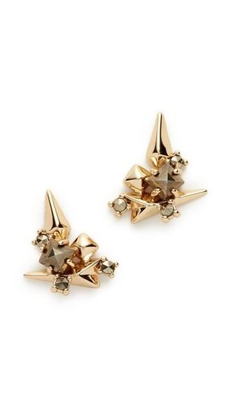 studded earrings gold jewels
