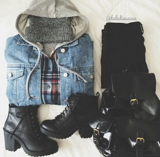 coat grunge denim jacket flannel beanie shoes bag