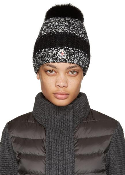 691ad04545554 Moncler Black Fur Pom Pom Beanie - Wheretoget