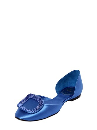 flats satin blue shoes