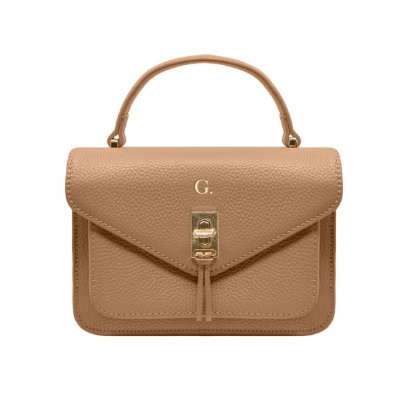 Grainy Cocoa Oxford Bag (Gold Metal Detail)