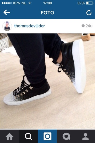 shoes black sneakers white ombre cool