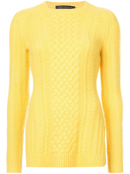 Sally LaPointe jumper women silk knit yellow orange sweater