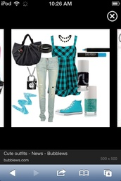 bag,outfit,tank top,plaid,dress,home accessory,blouse,make-up