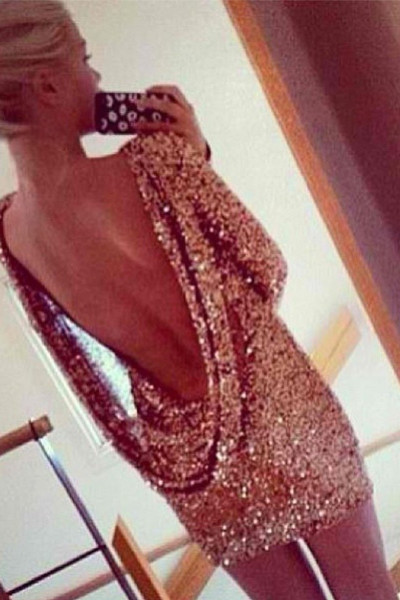 Dhara drape sequin dress